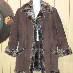 Hudson place suede and faux shearling coat
